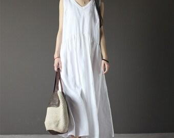 White linen dress - Etsy