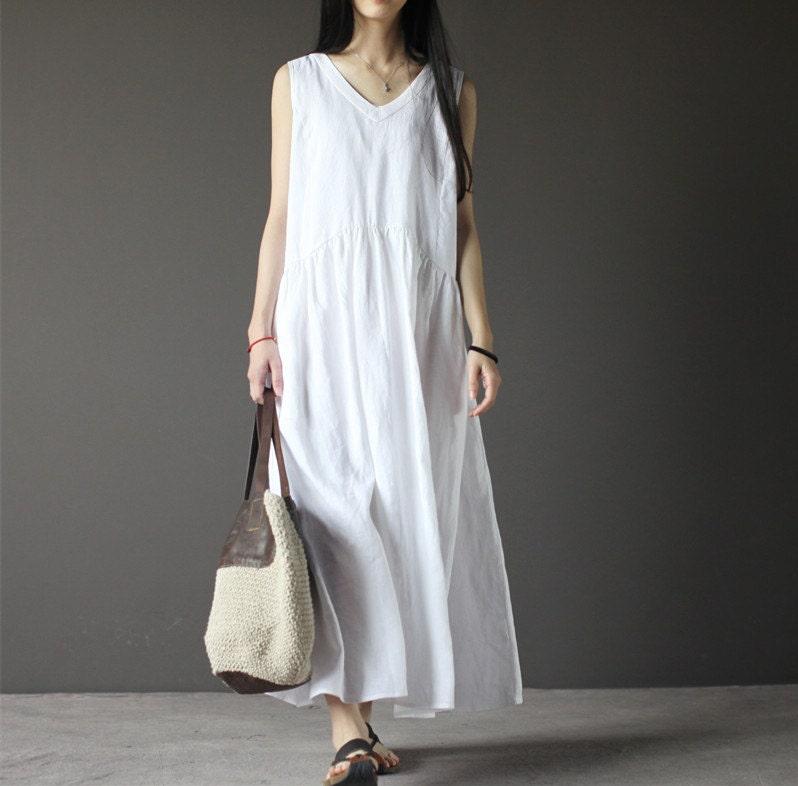 White sleeveless linen dress-V neck linen dress-women