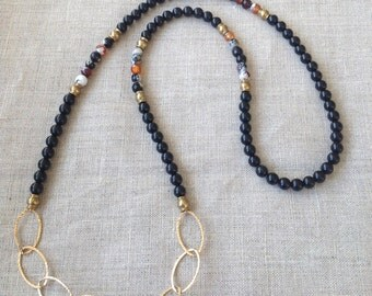Gold Chain Onyx Necklace