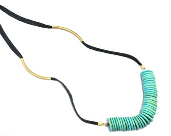 Turquoise and Leather Statement Necklace. Tribal Jewelry, Modern Tribal Necklace, Boho