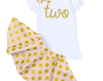 2nd Birthday Outfit with Twirl Skirt and Hair Bow, Pink and Gold Girls Polka Dot Birthday Outfit, glitz gold