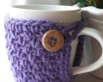Crochet Coffee Cup Cozy Purple, Dark Lavender Color. Made to Order