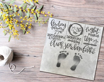 Hand Lettered + Modern Calligraphy Newborn Baby Birth Stats on Canvas