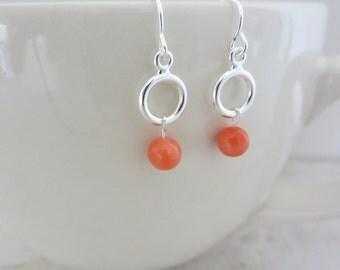 Coral bead earrings, Coral earrings, Coral and silver dangles, Delicate earrings, Minimal earrings