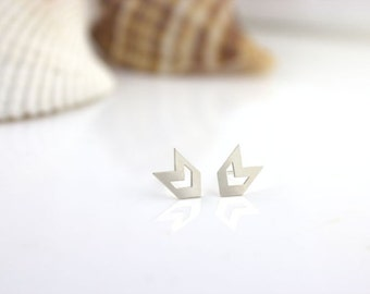 Sterling Silver Chevron Earrings - Geometric studs, Silver chevron jewelry, 100% sterling silver, boho earrings, chic studs, simple everyday