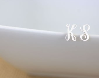 Monogram Initial Earrings - Sterling Silver Initial studs, Monogram Earrings, script letter earrings