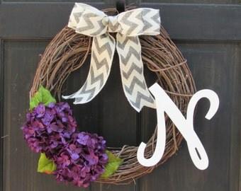 Purple Wreath with Monogram, Initial Wreath for Front Door Decoration, Letter Door Hanger with Purple Hydrangea, Wreath with Initial
