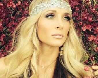 Headbands, Crystal Rhinestone beaded headband with Crystal Jewels, Women Elastic hair piece, wedding headband