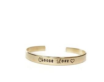 choose love| custom cuff bracelet | personalized cuff bracelet | gold brass hand stamped cuff