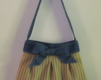 Handmade Over the Shoulder Pleated Bow Handbag, Medium Brown Stripe with Denim