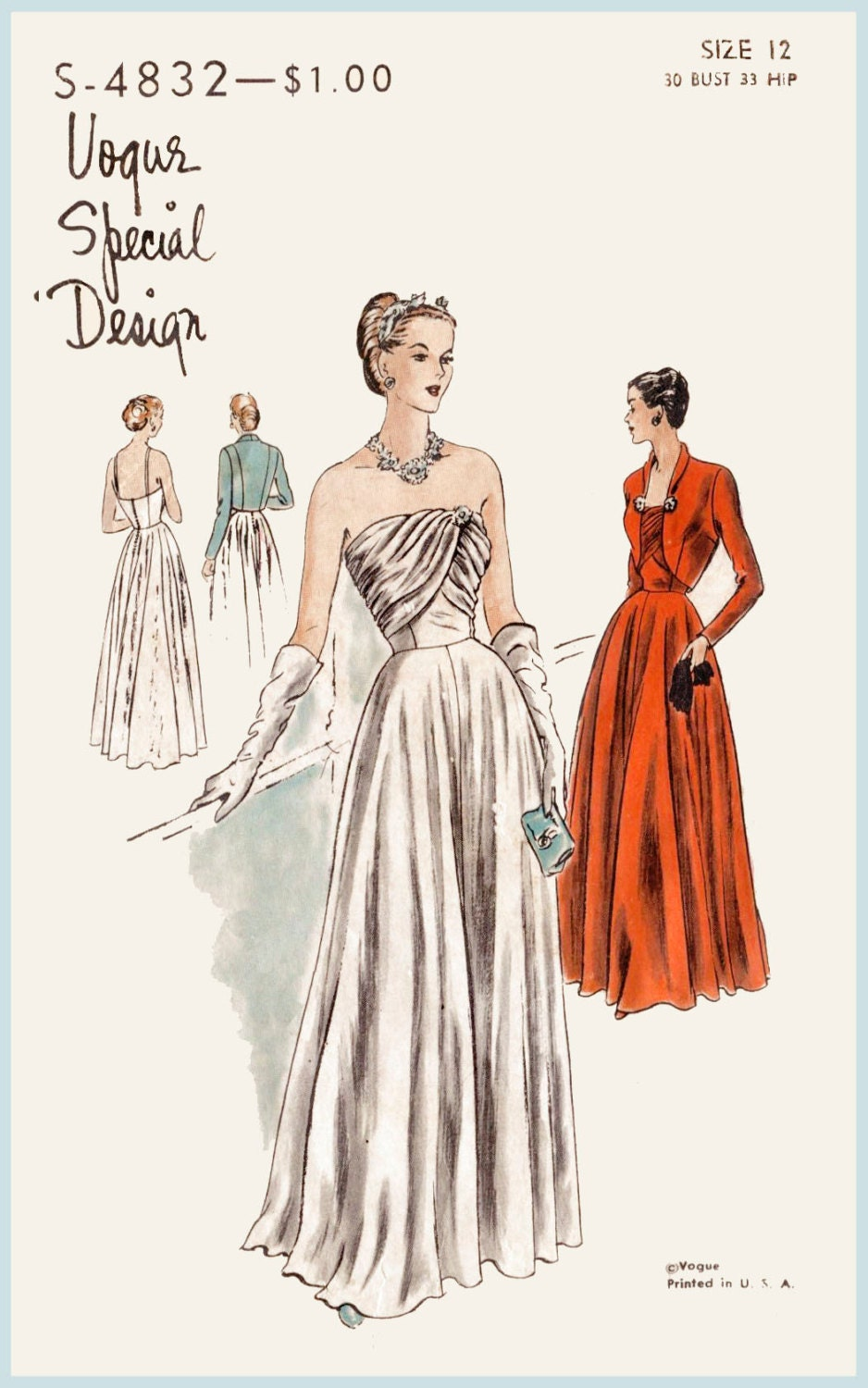 1940s 1950s Vintage Gown Sewing Pattern Evening Cocktail Dress