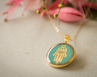 Jewish jewelry, hamsa necklace, kabbalah necklace, gold hamsa hand, resin jewelry, hand of fatima, gift under 50 gift for her