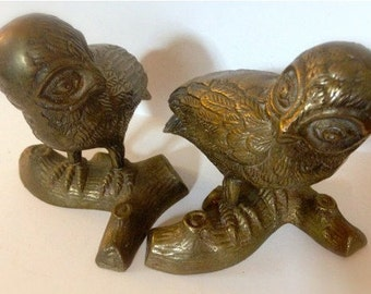 Set of Two Vintage Brass Owls