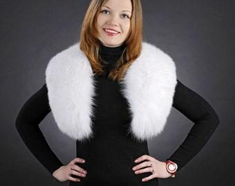 White fox fur scarf