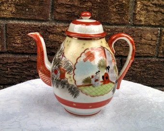 Vintage Teapot, Kutani Geisha Girl by Suzuki Porcelain, Kutani Porcelain, Large Teapot, Mid Century Asian, Circa 1950s