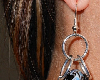 Swirling Blue Mist Chain Maille Earrings