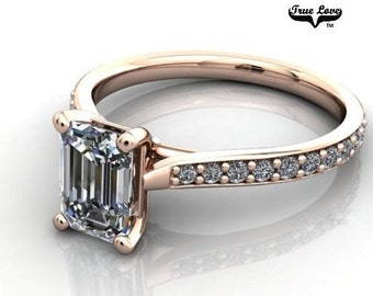14 kt. Rose Gold Solitaire Emerald Cut Moissanite Engagement Ring with Sidestones. #6991