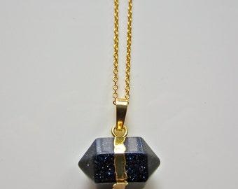 Semi Precious Prism Blue Sandstone Pendant on Gold Fine Chain Necklace