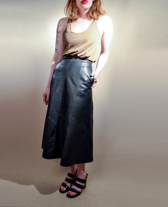 80s Genuine Leather Maxi Skirt Gypsy Boho High Waisted Skirt