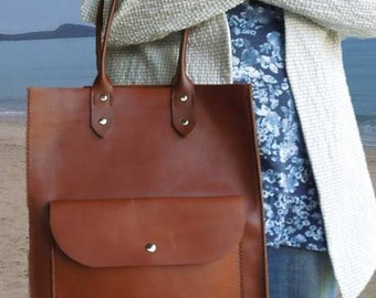 Tan Leather Tote Bag Market Shopper