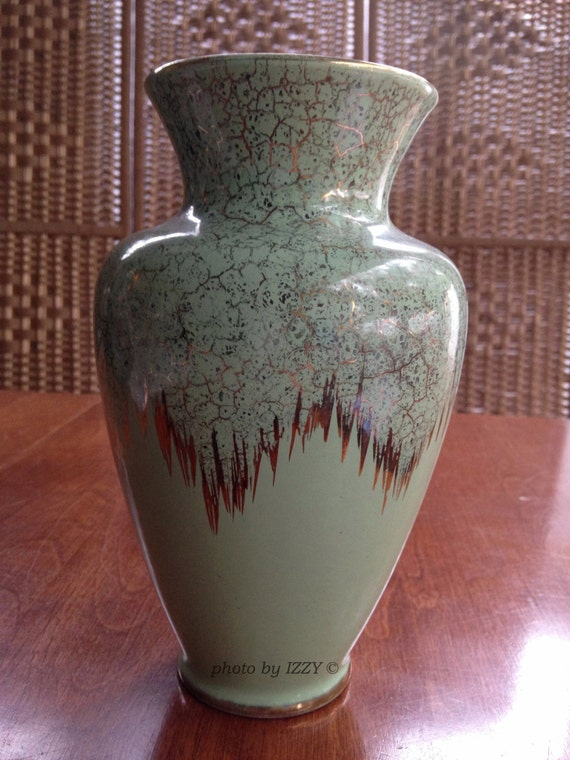Items Similar To Green Gold Vase Made In Germany