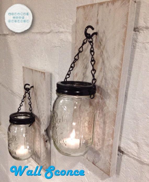 Rustique mason jar bougie lumi re applique pot mason - Applique bougie murale ...