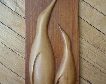 Vintage Wooden Penguin Panel