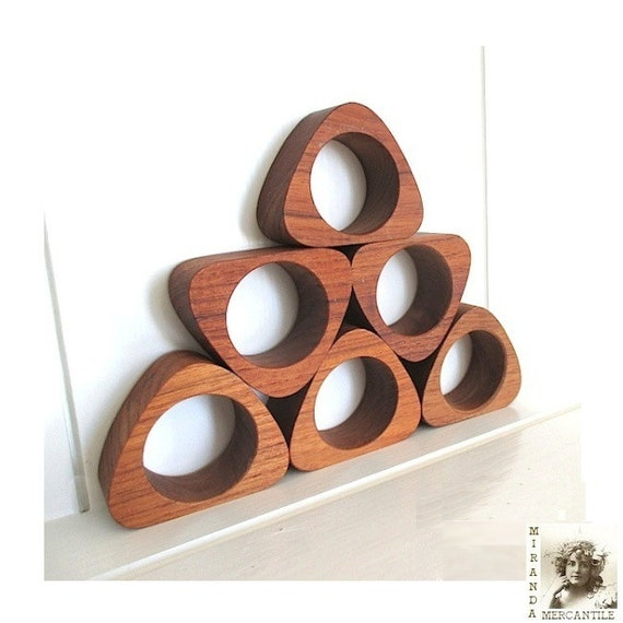 Teak Wood Napkin Rings Mid Century Modern Set Of 6 1960s