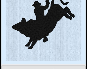 Bull riding embroidery file
