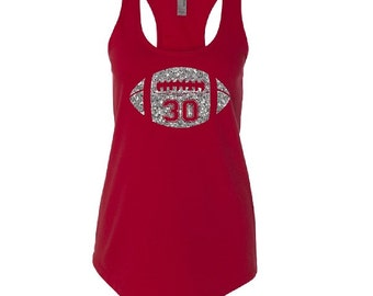 Personalized Football Mom Tank Top. Glitter Football Shirt. Custom Football Tank. Mom Football Tank. Football Shirt.  Custom Tank