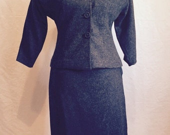 Vintage gray wool suit from late 50s or early 60s.