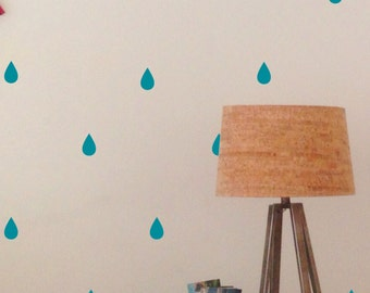 Raindrops Wall Decal Sticker set for nursery boy girl room bedroom wall art decoration - REMOVABLE 1047