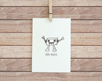 Funny Thank You Card - Printable - Domo Arigato - Robot - 5 x 7 - INSTANT DOWNLOAD
