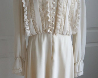 Ivory Dress with Lace Detailing