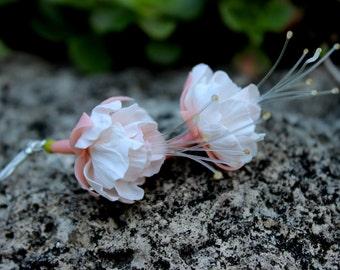Earrings Fuchsia - Cold porcelain - Flower earrings - Jewelry - Cold porcelain earrings
