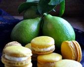 French Macarons :Lemon, French macaroons, handmade gourmet  lemon cookies, edible artisan almond cookies