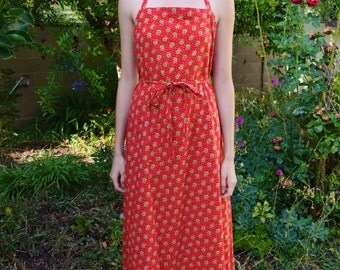 Vintage 1970s Red and Green Halter Cotton Groovy Floral Print Summer Calico Prairie Wrap Around Open Back Maxi Dress XS