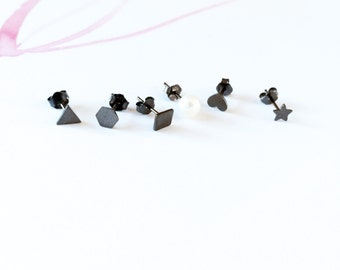 Black Shapes Stud Earring Set of 6 925 Silver 6 Shapes Star Hexagon Square Triangle Heart Pearl Stud Earring Monday to Friday Earring gift