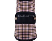 Tan Plaid Couture Dog Coat with 24K Gold Buttons by Bella Poochy