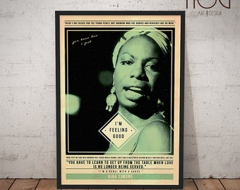Nina Simone Poster - Quote Retro Music Poster - Music Print, Wall Art