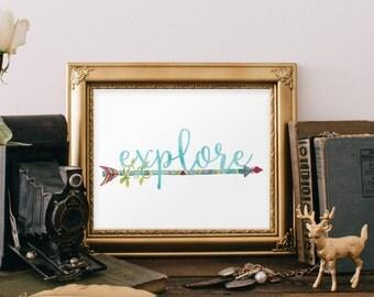 Explore Sign, Nursery Boy Decor,  Nursery Wall Art, Explore Print, Baby Boy Nursery, Arrow Sign, Arrow Artwork, Nursery Print, Nursery, 256
