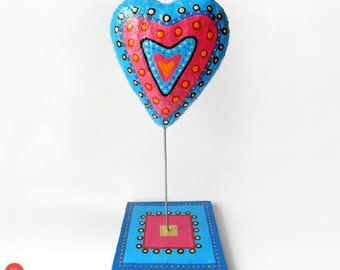 Papier Mache Heart Sculpture, Blue Fuschia Heart, Valentines Day Gift, Recycled Art, Heart Art Object, Love Gift, Heart Home Decor