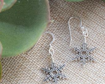 Silver Snowflake Earrings, Sterling Silver, Snowflake Jewellery, Frozen Earrings, Silver Snowflake Jewelry, Christmas Earrings, Snowflake