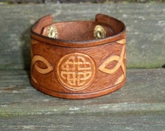 Hand Tooled Celtic Leather Bracelet