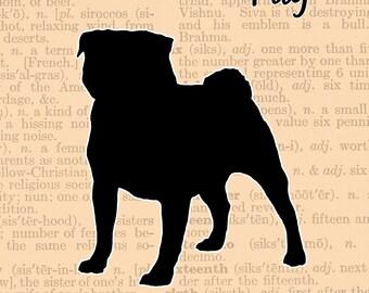 Pug Silhouette, Wall Art, Customizable