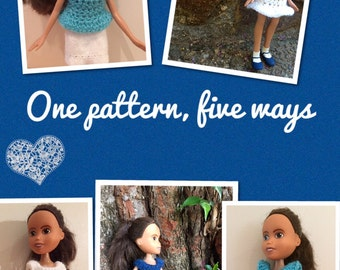 Instant download 'Mya Lou' 5 pdf crochet dress and top pattern for OOAK upcycled make over make under Bratz dolls.