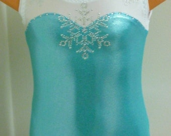Elsa Frozen Leotard with Bling - Sizes: 2T, 3T, Girls 4 - 16, Adult XS - XL