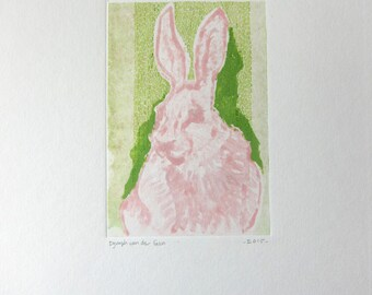 Pink hare monotype
