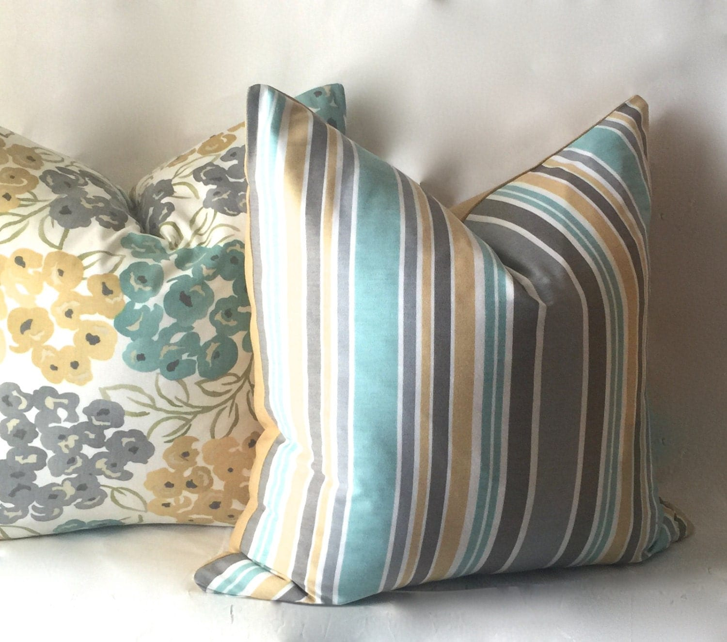Stripe Teal Pillow Gold Throw Pillow by SewDeevinePillows on Etsy