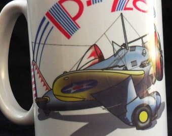 Aviation gift mug pea shooter 12-ounce white showing P-26 aircraft and splatted peas